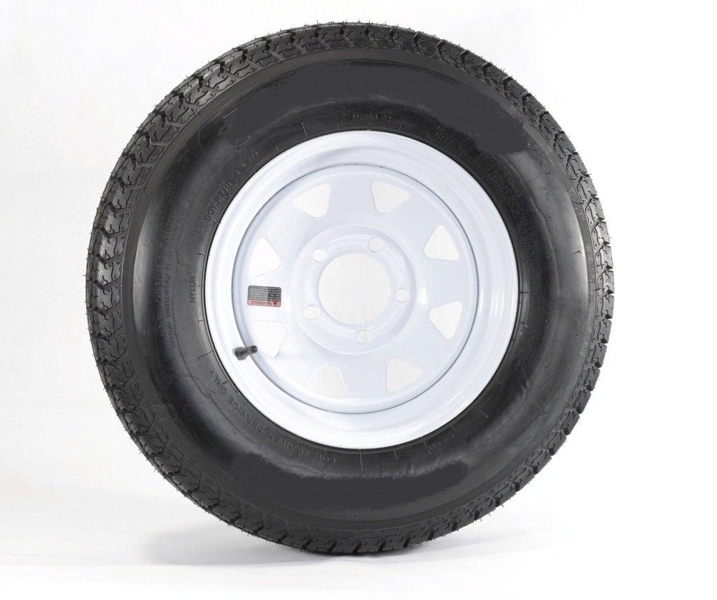eCustomRim 2-Pack Radial Trailer Tires Rims ST185/80R13C 1480 Lb. 13X4.5 5-4.5 White Spoke