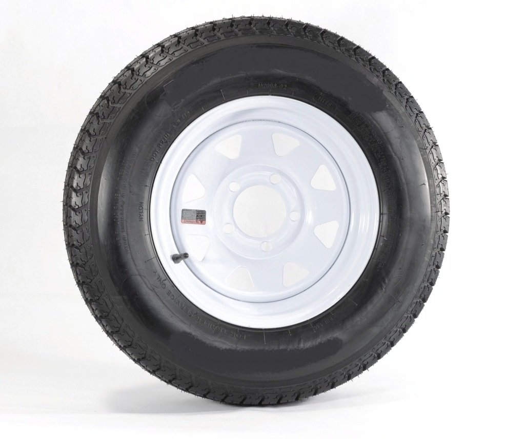 eCustomRim Trailer Tire & Rim ST205/75R15 Load Range D 15X5 5-4.75 White Spoke 3.30CB
