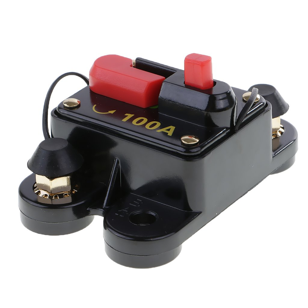 MagiDeal Waterproof In-Line Circuit Breaker Stereo/Audio/Car/RV Fuse 12V/24V/32V System Protection - 100 Amp