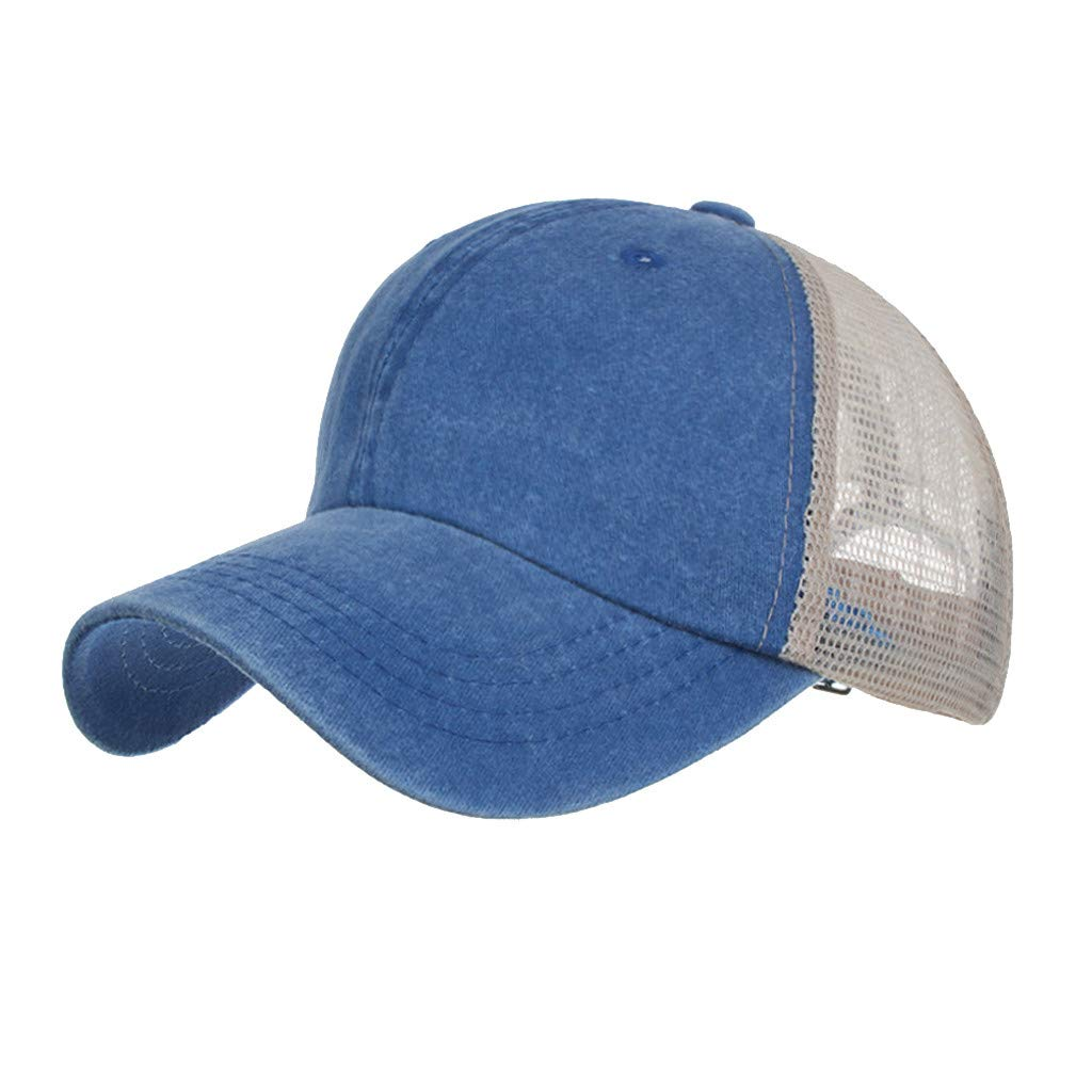 Outdoor Sport Hats Unisex Summer Baseball Cap Washed Cotton Hat Casual Cap Blue