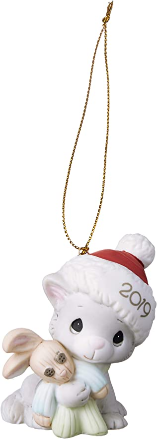 $ New PRECIOUS MOMENTS Porcelain Ornament 2019 CHRISTMAS DATED Cat Kitten Bunny