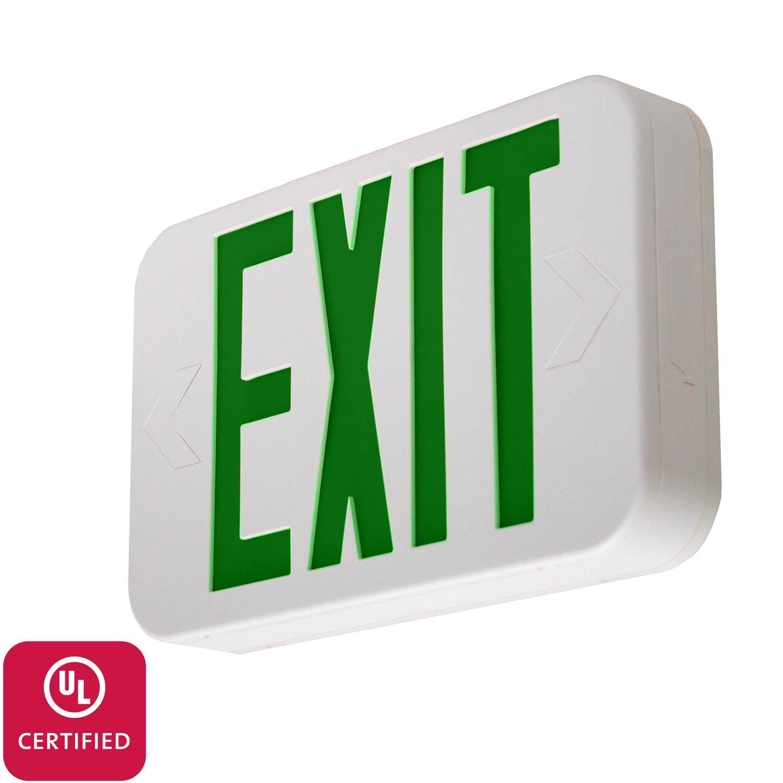 LFI Lights - UL Certified – Hardwired Green LED Emergency Exit Sign - Modern Design - Battery Backup - LEDGBBJR