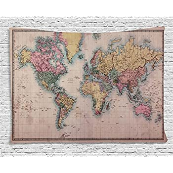 Amazon world map tapestry global map wall hanging retro art ambesonne wanderlust decor collection original old hand colored map of the world anthique chart for old emperors art print decor bedroom living room dorm gumiabroncs Images