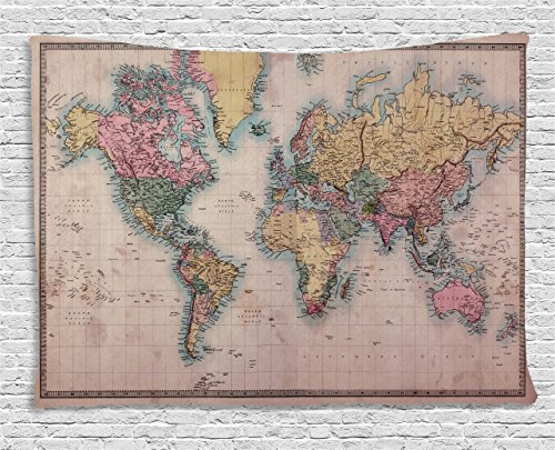 Ambesonne Wanderlust Decor Collection, Original Old Hand Colored Map of the World Anthique Chart for Old Emperors Art Print Decor, Bedroom Living Room Dorm Wall Hanging Tapestry, 80W X 60L Inch, Multi ()