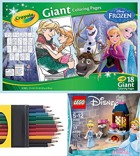 Disney Frozen Girls Play-Set Crayola Giant Sized Pages Mega poster coloring sheets 12 Pack Colored Pencils + Cinderella's Kitchen Set 30551 with Princess Mini Figure to Enchanted Ball Play Fun (Hanna Bedroom Collection)