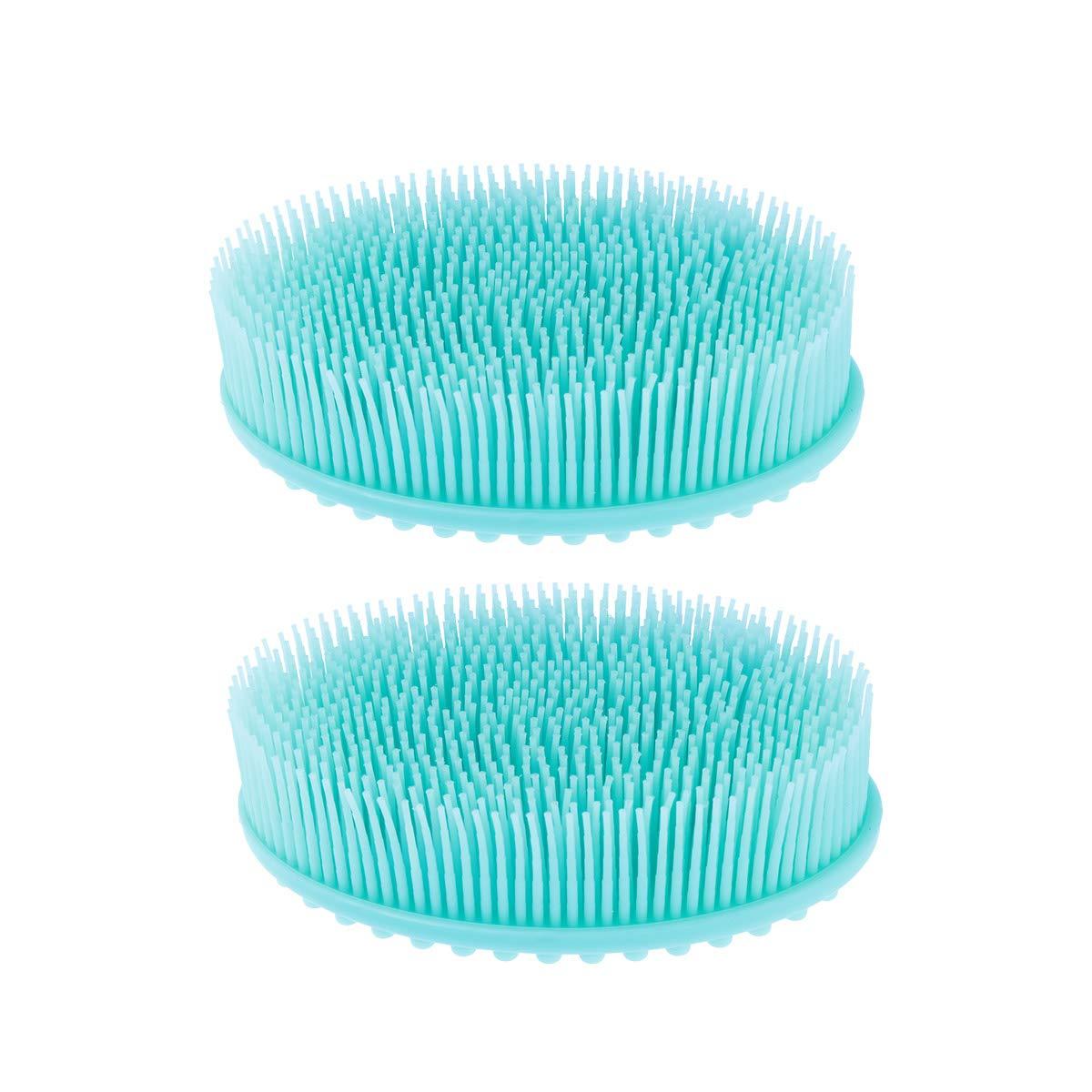 healifty 2Silikon Körper Bürste Haut Peeling Pad Haut Health Beauty Care Massage Bürste (blau)