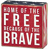 "Patriotic Distressed Box Sign-wall, Desk, or Table Decor- ""Home of the Free Because of the Brave"