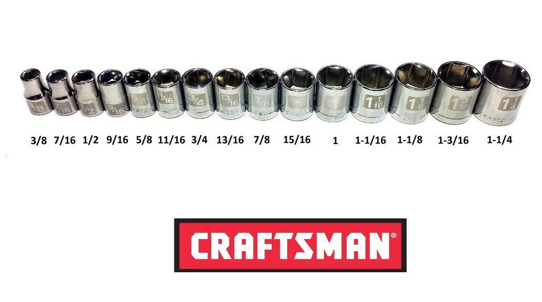 Craftsman Laser Etched Easy Read 15 Piece SAE Standard 1/2'' Drive 6 Point Shallow Socket Set