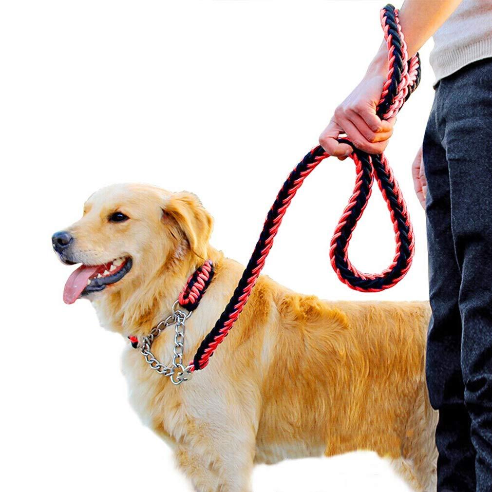M Rope Dog Lead Nylon Durable Dog Leash Safety 1.2m Padded Nylon Braided Strong Heavy Duty Dog Training Lead LeashFor Small Medium Large Dogs Red (Size   M)