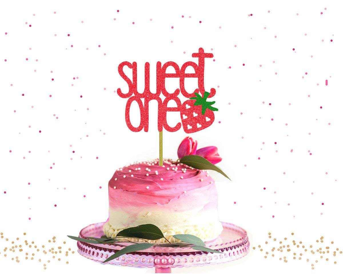 Phenomenal Cake Topper Glitter Sweet One 1St Birthday Berry Party Strawberry Funny Birthday Cards Online Elaedamsfinfo
