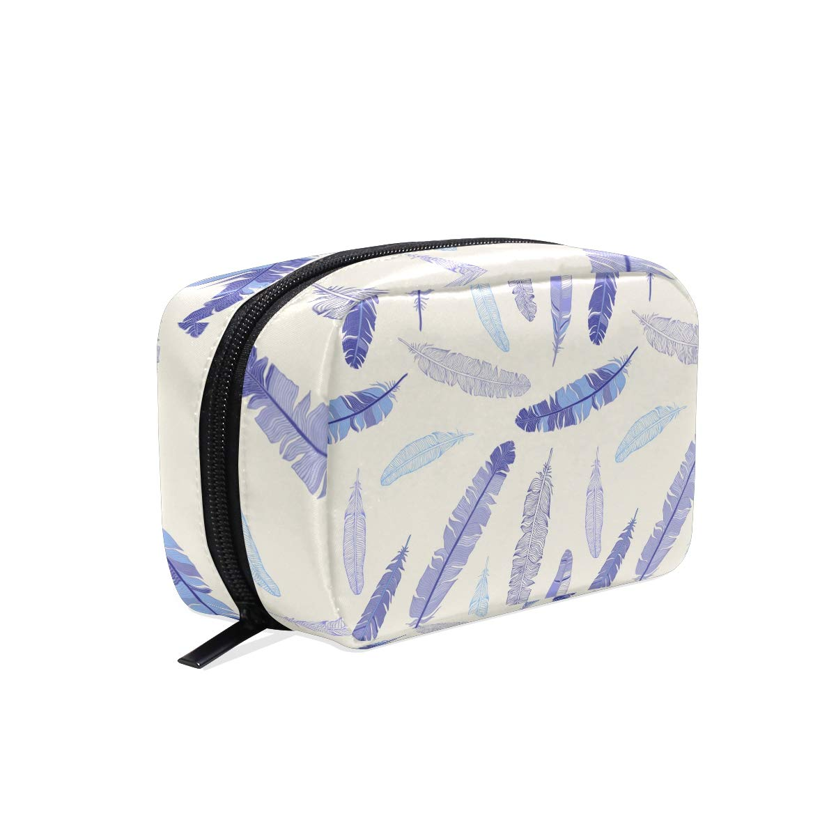 8a55a5443cc1 Amazon.com : Blue Sparse Feather Women's Large Cosmetic Makeup Bag ...