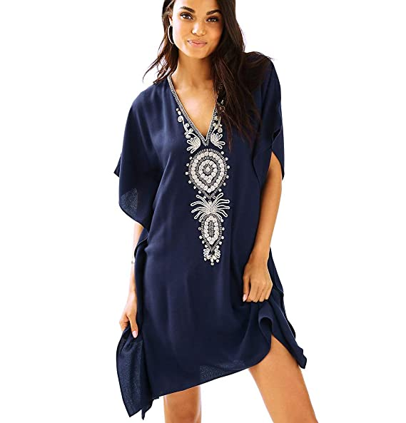 28f23a40666e8 Image Unavailable. Image not available for. Color: NFASHIONSO Women's Cotton  Bathing Suits Cover Up Bikini Beach Dress