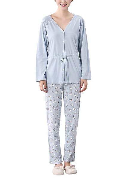 Dolamen Pijamas para Mujer, Pijamas Mujer Invierno, Mujer Camisones, 100% Algodón Suave