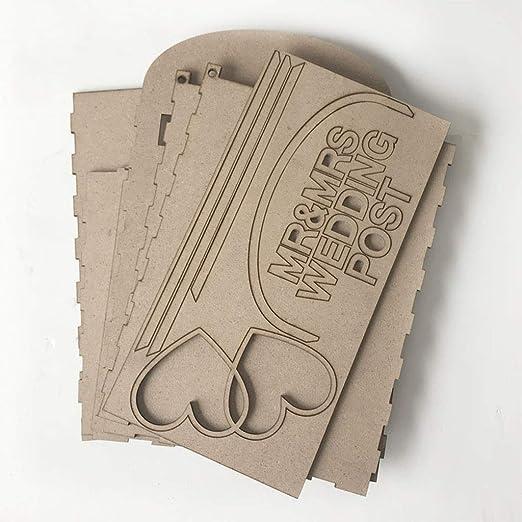 GuanjunLI - 1 caja de madera para tarjetas de boda con cerradura y ...