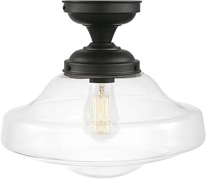 Amazon Com Lucerne 1 Light Semi Flush Mount Ceiling Light Dark Bronze Clear Glass Shade 65849 Home Improvement
