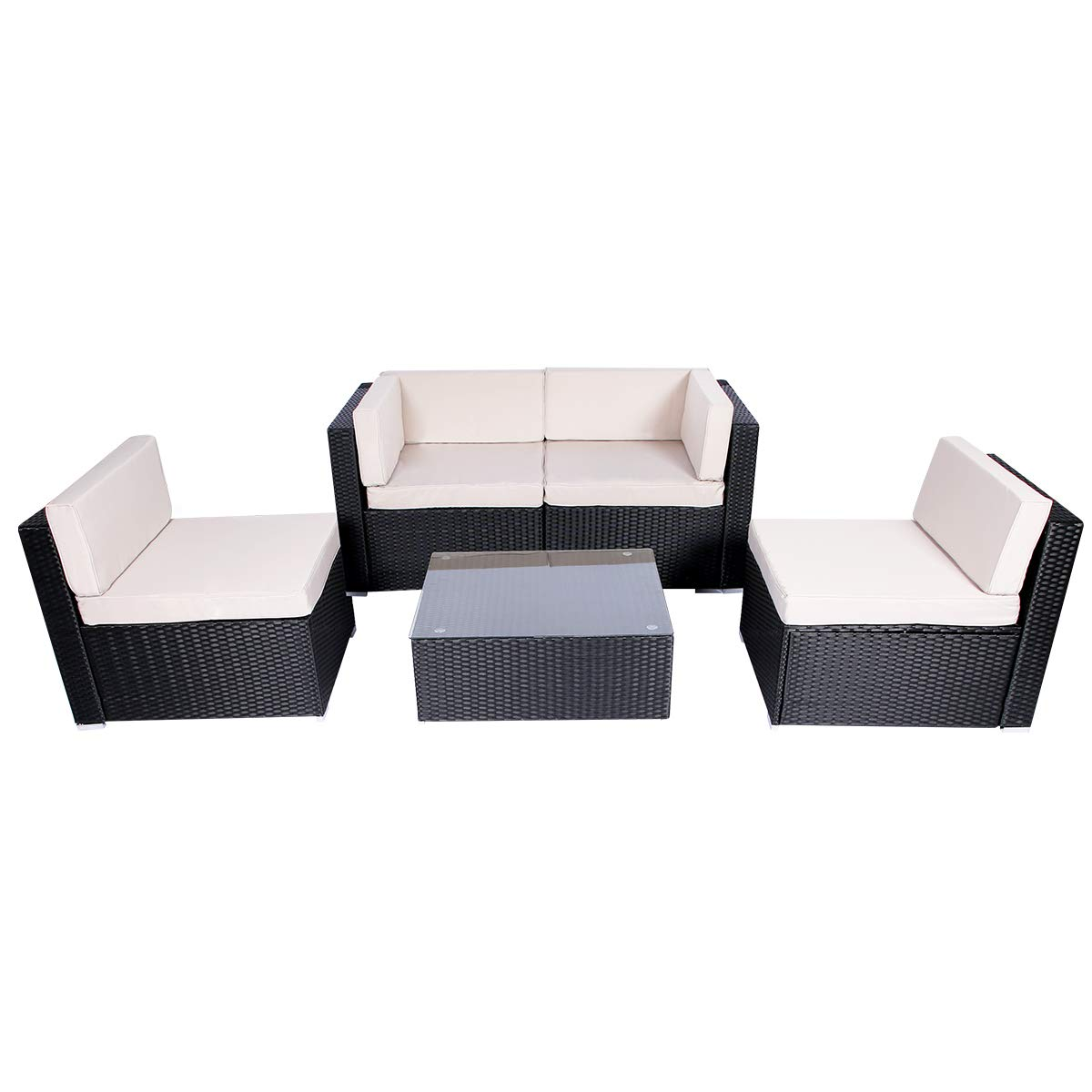 Esright 5 Pieces Patio PE Rattan Wicker Sofa Sectional Furniture (Black) by Esright