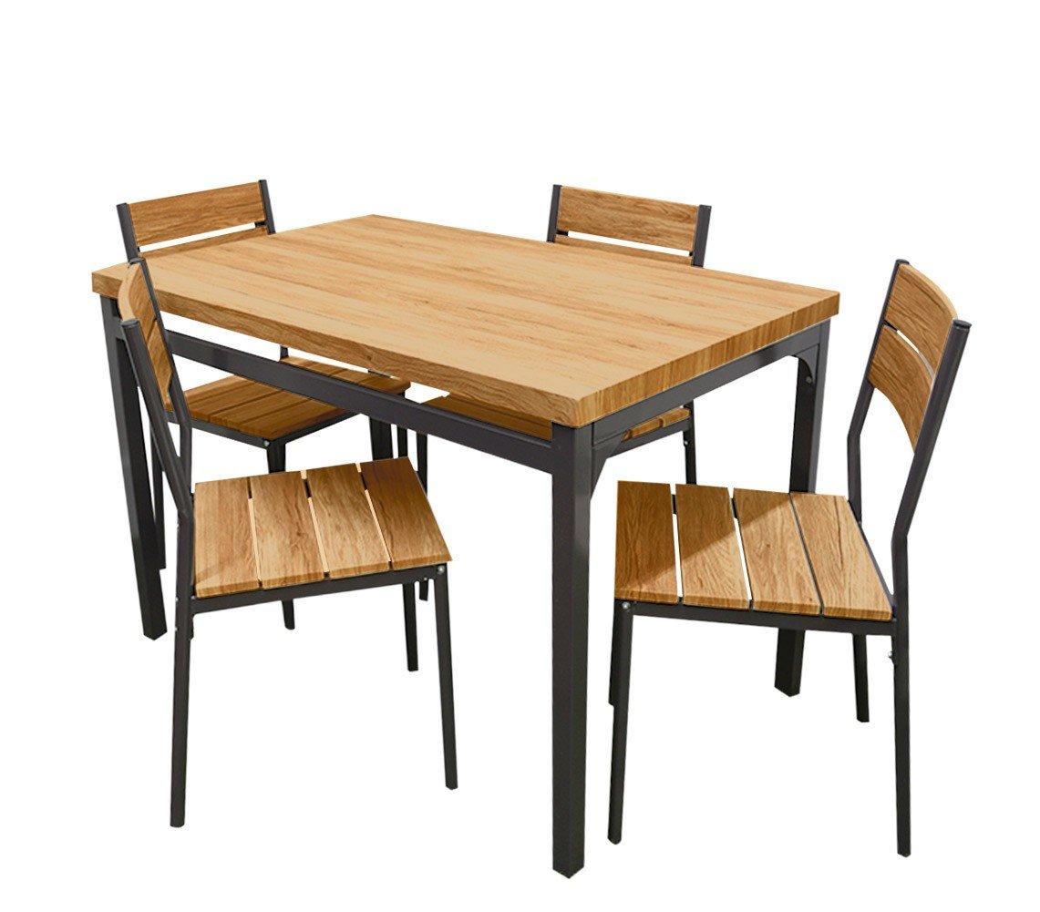 Mediawave Store Tavolo Giardino AH con 4 sedie Metallo e Legno 433850 Rovere Scuro 110x70x75 cm