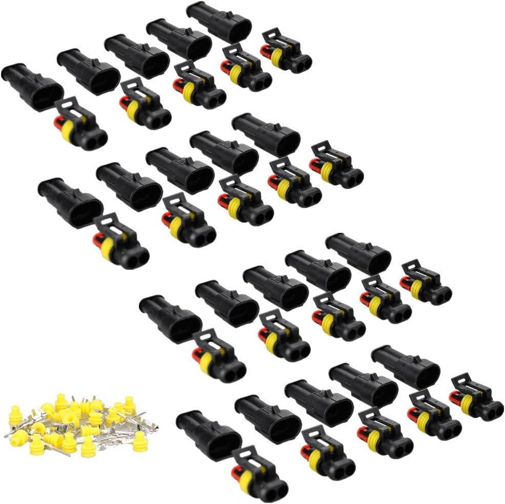 2 Polig Stecker Steckverbinder Capalta Blume 20 Set 1 5mm Superseal Steckverbindung Wasserdicht Für Auto Kfz Boot Auto