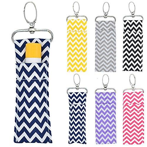 Lipstick Holder Keychain, 2pcs/6pcs Wave Pattern Lip Balm Chapstick Pouch Strap Key Ring Bag Mothers Girls Gift(Six Clours) by ZJchao