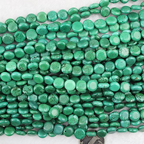 10mm Coin Green Turquoise Beads Loose Gemstone Beads for Jewelry Making Strand 15 Inch (Turquoise Coin Beads)