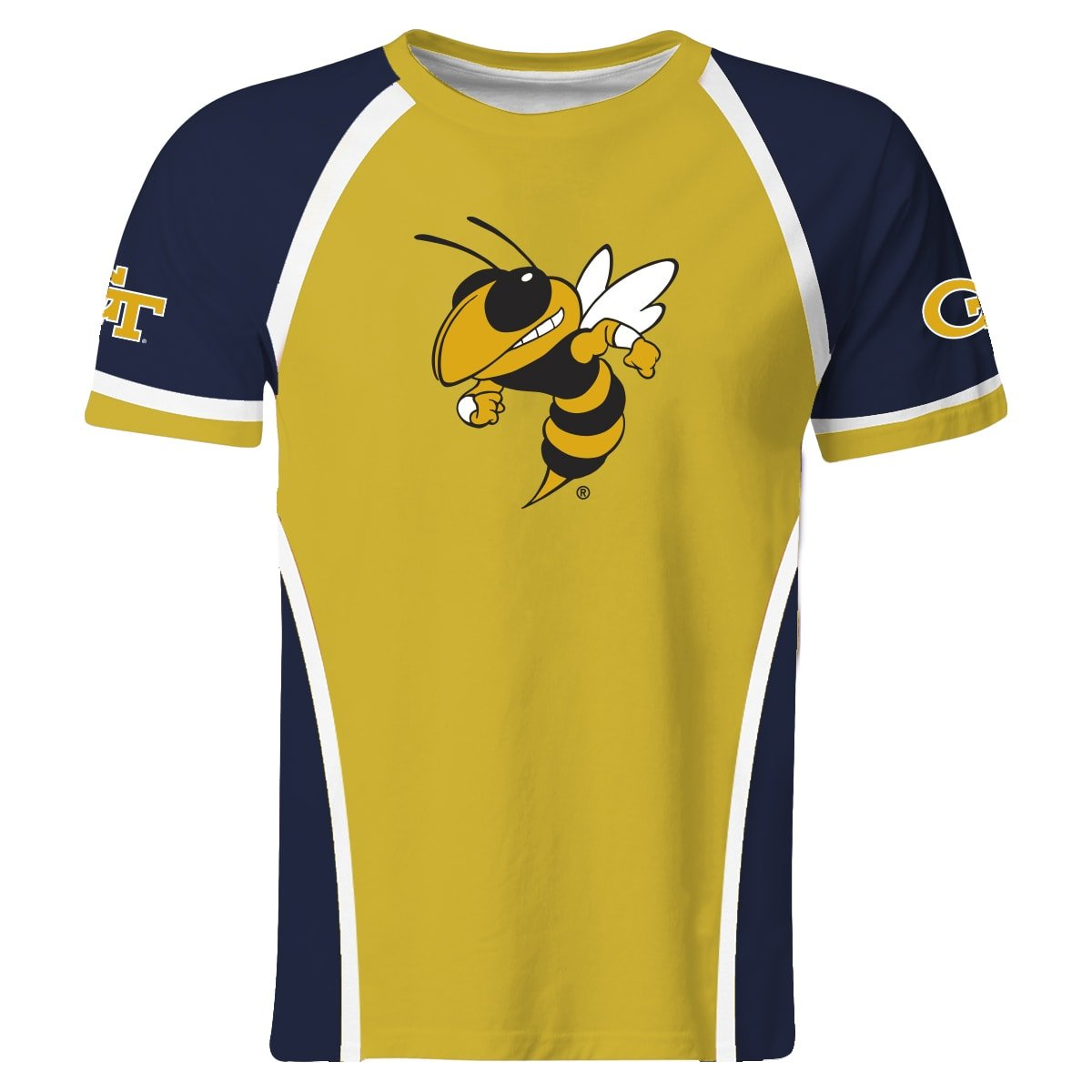 Vive La Fete Collegiate GA Tech Yellow Jackets Yellow and Navy Short Sleeve Boys Tee Shirt by Vive La Fete Collegiate