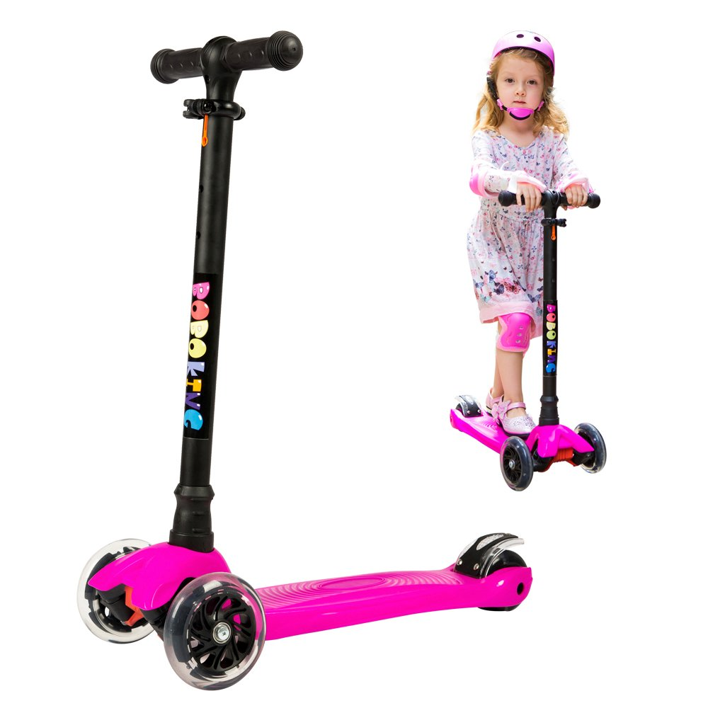 Scooter for Kids, 3 Wheel Adjustable Height Deluxe Kick Scooter with LED Light Up Wheels, Wide Deck for Children from age 2 to 14, Surface-safety Balance Technology, BOBOKING Christmas Gifts for Kids