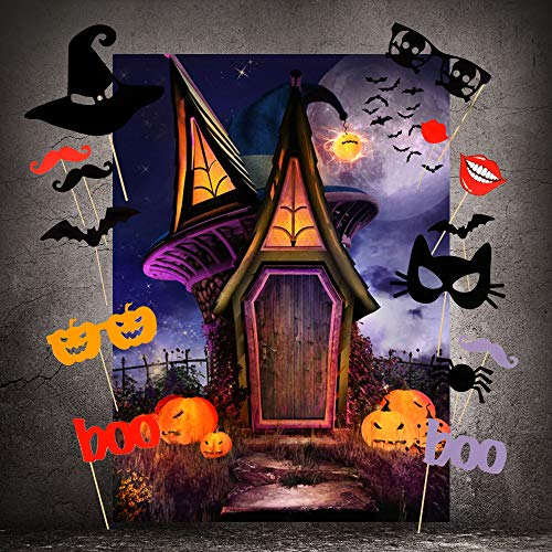Halloween Backdrops with Photo Booth Props, MeeQee 5X7ft