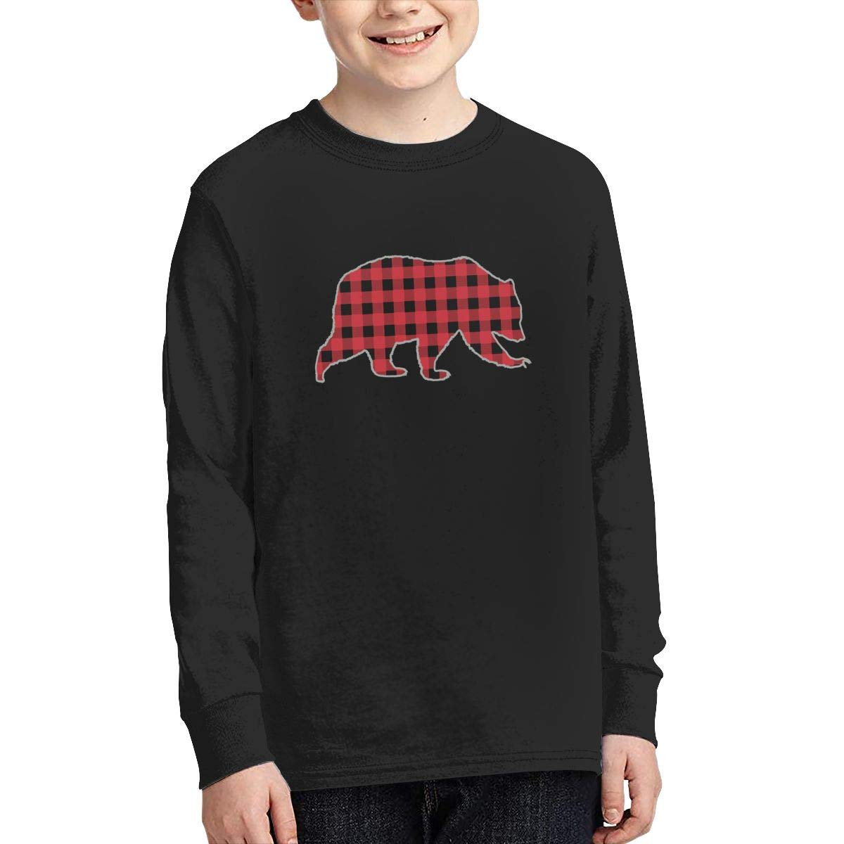 Bear Buffalo Plaid Family Christmas Present Youth T Shirts Boy's Youth Tees Long Sleeve 100% Coton YOKOL