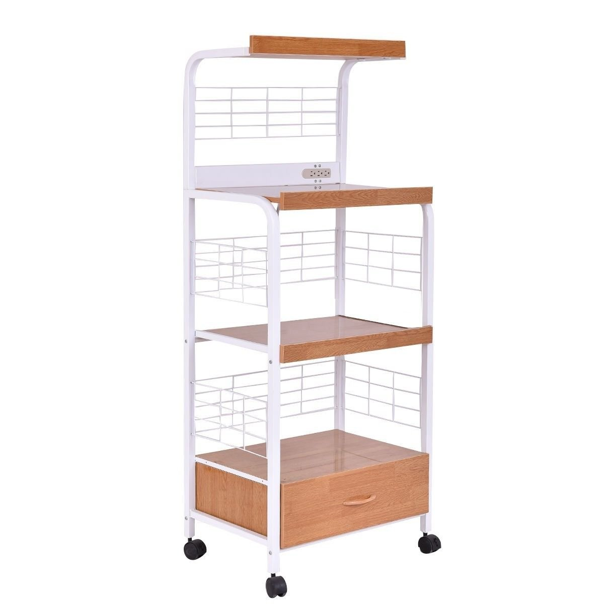 """62"""" Portable Kitchen Microwave Oven Stand With Electric Outlet Bakers Rack 3 Layer Design Large Storage Space Freestanding Rolling Storage Utility Cart Workstation Shelf Pull-Out Drawer Sturdy Durable"""