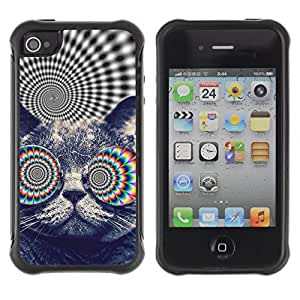 Hybrid Anti-Shock Defend Case for Apple iPhone 4 4S / Psychedelice Cat
