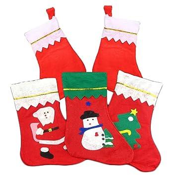 Nicky 5 x calcetín de Navidad calcetines Navidad decoración como bolsa de regalo para familia niños muñeco de nieve árbol de Navidad Papá Noel: Amazon.es: ...