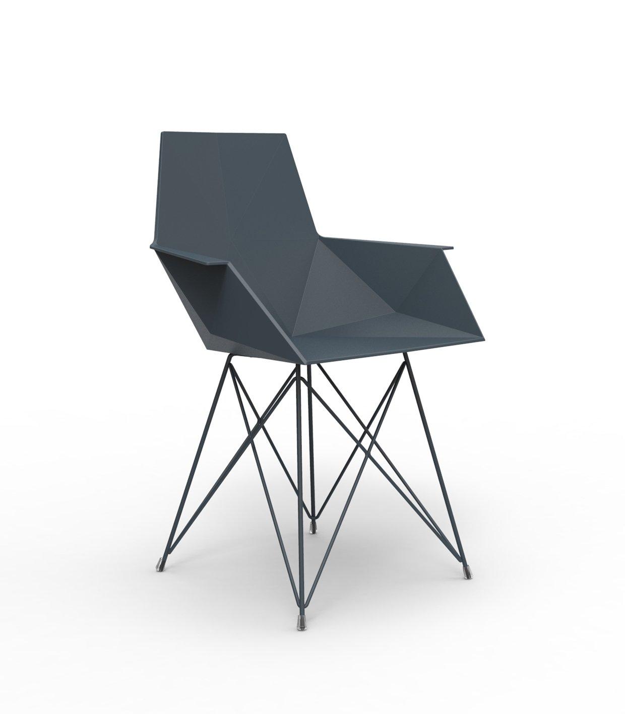 Vondom FAZ Stuhl mit Armlehnen - schwarz - Stahlgestell - Ramón Esteve - Design - Esszimmerstuhl - Gartenstuhl