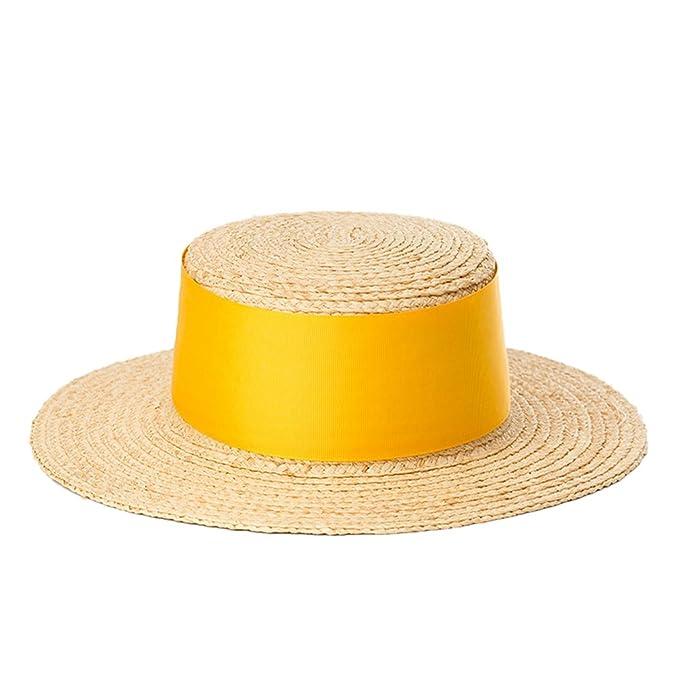 42b0110b96e7a Nafanio Sombrero de Paja Plana para Mujer con Rosca Ancha y Parte Superior  Plana Decorativa de