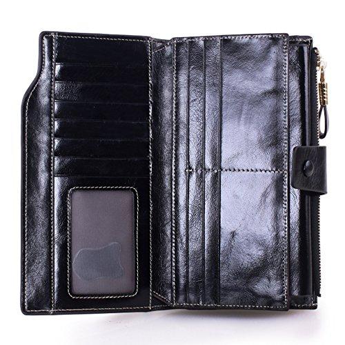 VentoMarea Women's RFID Blocking Large Capacity Luxury Waxed Genuine Leather Clutch Wallet Multi Card Organizer Ladies Purse by VentoMarea (Image #4)