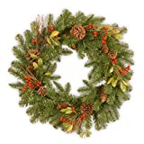 National Tree 24 Inch Decorative Collection Wreath with Cones, Red Berries and Leaves (DC3-184-24W-1)