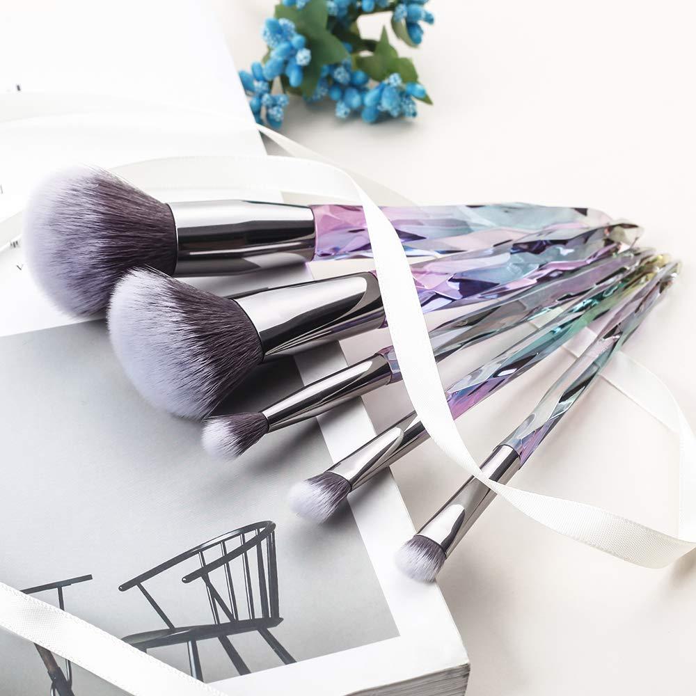 Makeup Brushes Travel Set JAF 5PCS Pro Rainbow Unicorn Diamond Shaped Crystal Shiny Handle Brush set Premium Synthetic 2018 Winter New Arrival for Powder Blush Contours Highlighter Eye Brush Kit
