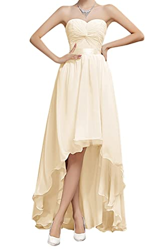 Bess Bridal Women's High Low Lace Up Chiffon Prom Bridesmaid Party Dresses