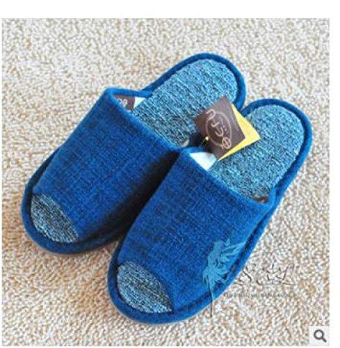 à Toile De Respirant Pantoufles Toe Imperméable Automne Slip Pantoufles Printemps La Ouvert Et Couples Blue Blue Hiver Maison Plancher nXqxdapqR
