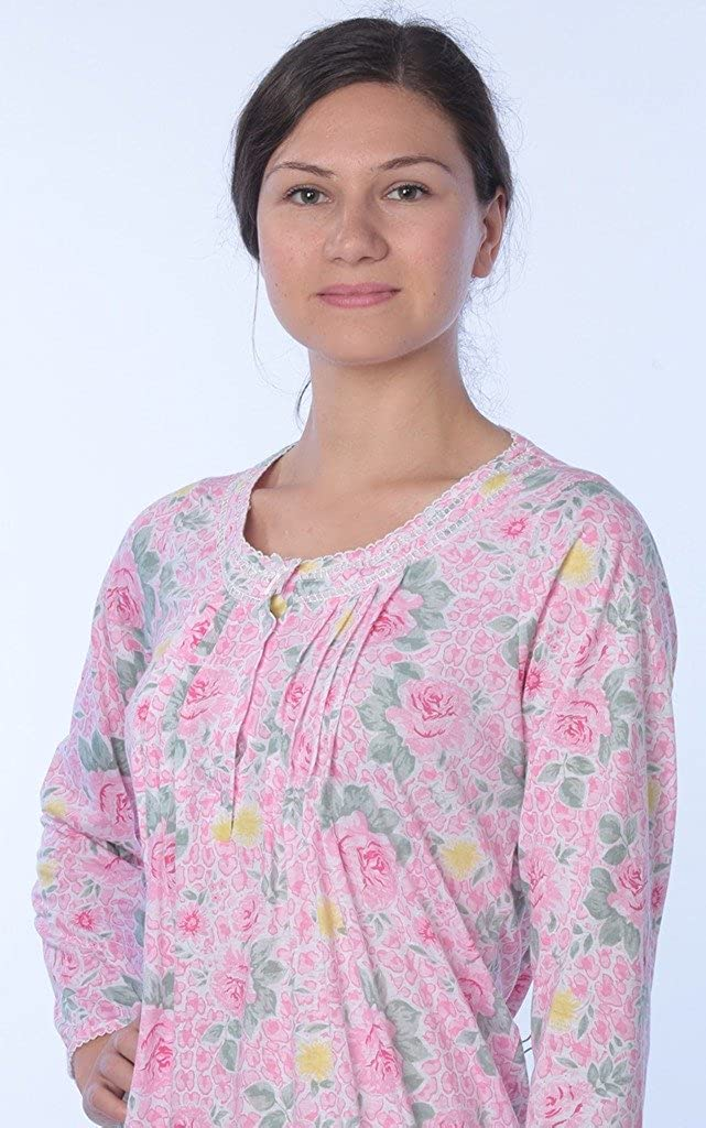 Beverly Rock Womens Floral Cotton Blend Long Sleeve Nightgown Available in Plus  Size f45b7e191