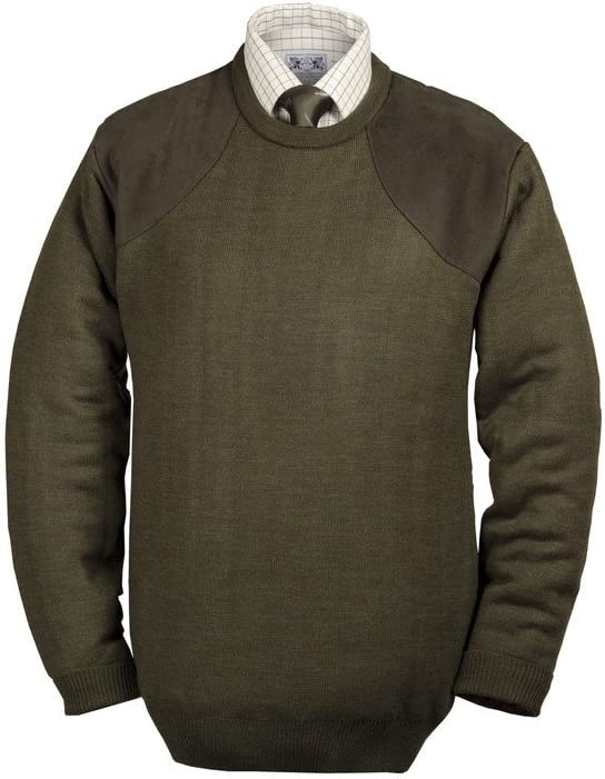 Mens PullOver Hunting Shooting Casual Jumper Crew Neck Abrasion Resistance Grey