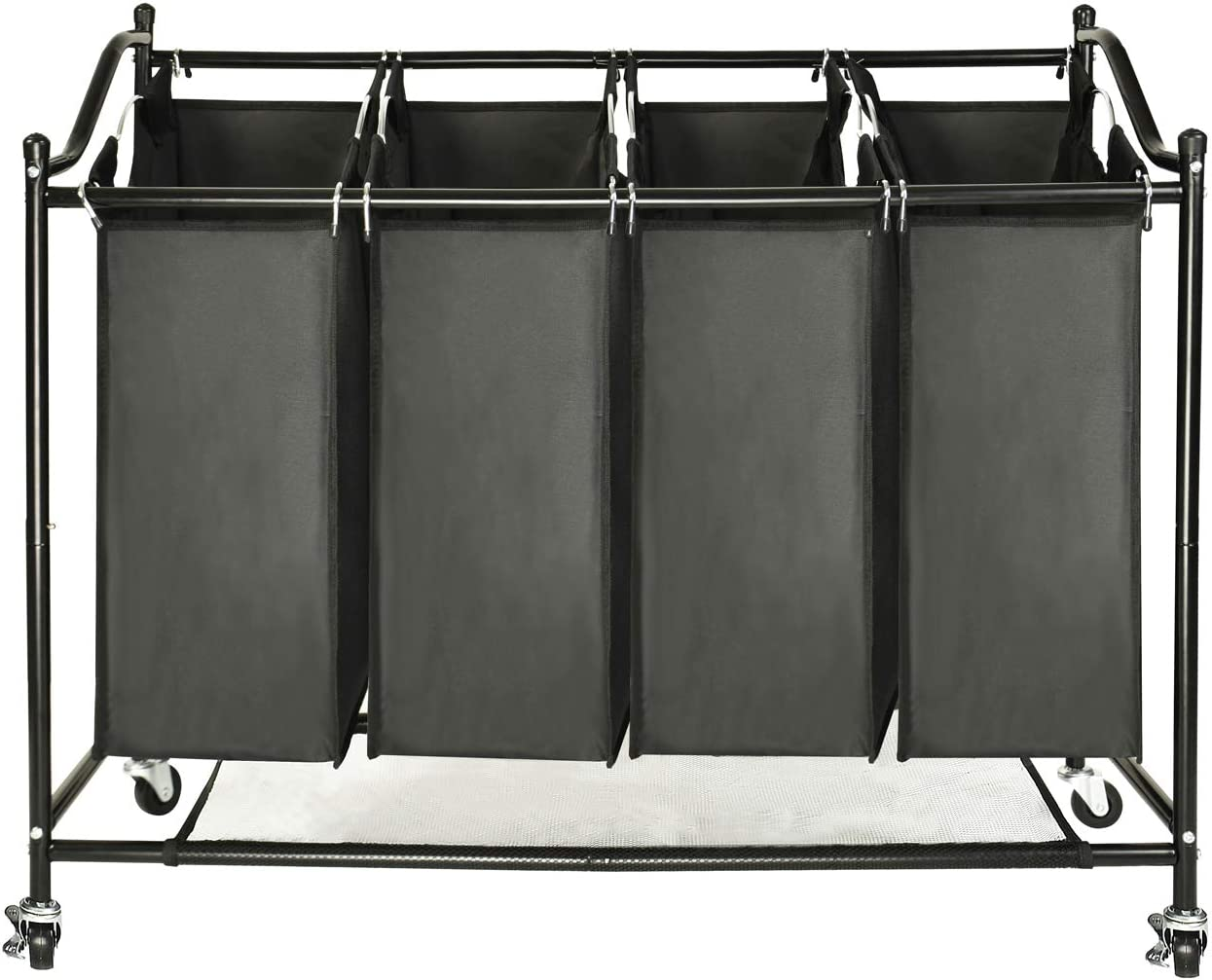 GOJOOASIS 4-Bag Laundry Sorter Rolling Storage Cart with Wheels Black Laundry Hamper