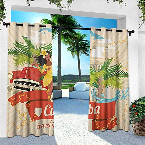 Havana Suspension - Havana, Outdoor Curtain Extra Wide, Cuban Culture and Attractions Concept Smiling Local Lady on Classic Car among Palms, Outdoor Curtain panels for Patio Waterproof W120 x L108 Inch Multicolor