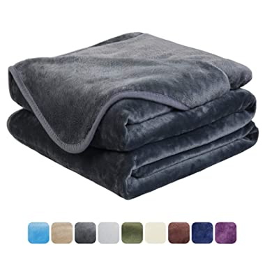 EASELAND Soft Queen Size Blanket All Season Warm Fuzzy Microplush Lightweight Thermal Fleece Blankets for Couch Bed Sofa,90x90 Inches,Dark Gray
