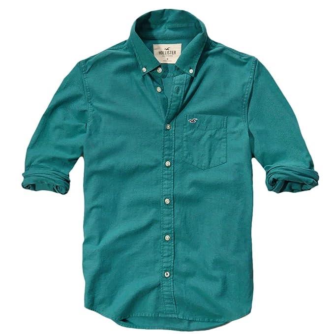 Hollister - Camisa casual - Button Down - Básico - con botones - Manga Larga - para hombre verde verde Small: Amazon.es: Ropa y accesorios