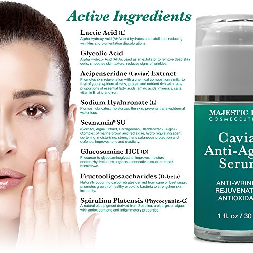 Majestic Pure Anti Aging Serum, Antioxidant Blue Marine Algae Caviar Anti Wrinkle Serum, Skin Rejuvenation & Nourishment, 1 fl oz