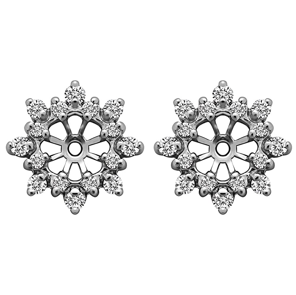 TwoBirch TB-EJ-0003-SICZRG-H 0.48 ct. tw. Sterling Silver Cluster Style Earring Jacket with Cubic Zirconia