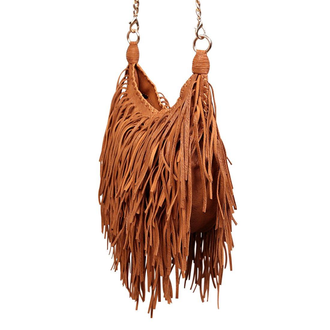 1b67c1dcc LUI SUI para mujer Cuero franja borla cruz cuerpo hobo bolsos Bolso al hombro  para mujer Marrón: Amazon.es: Equipaje
