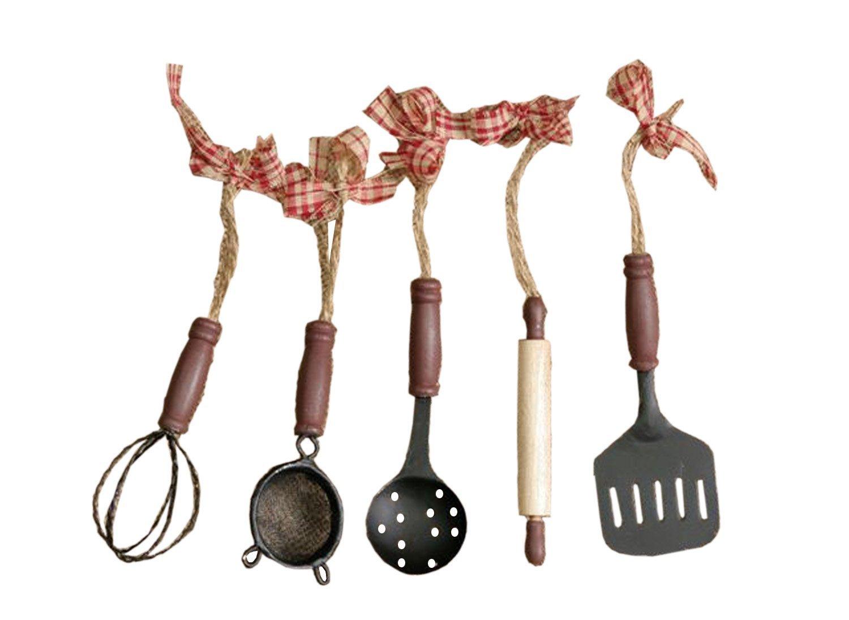 Set of 5 Kitchen Utensil Ornaments