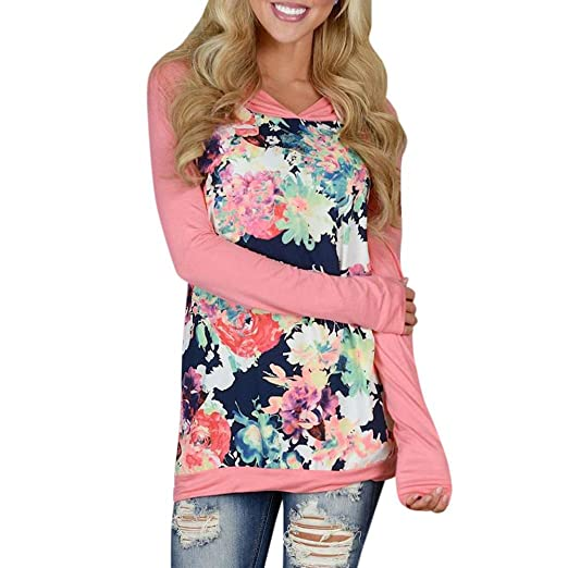 0e70be57dd1 BSGSH Women Multicolor Floral Tunic Sweatshirt Long Sleeve Pullover Autumn  Hoodie at Amazon Women s Clothing store