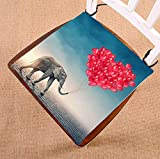 Custom Elephant Red Balloons Seat Cushion Chair Cushion Floor Cushion Twin Sides 18x18 inches